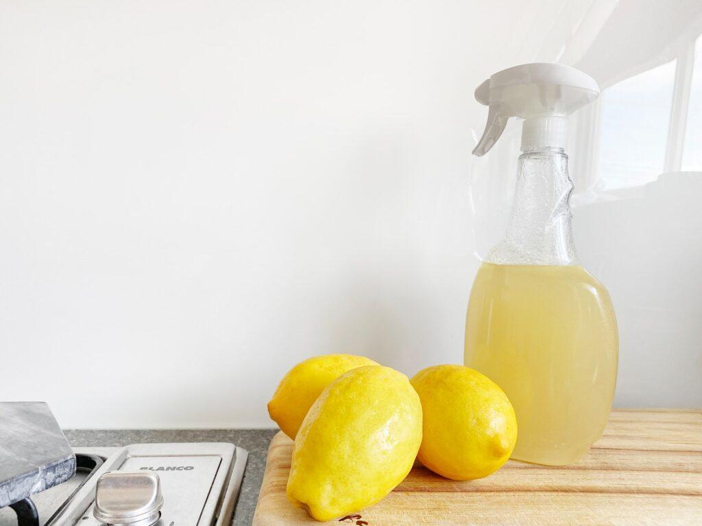 A squeeze bottle holds lemon juice