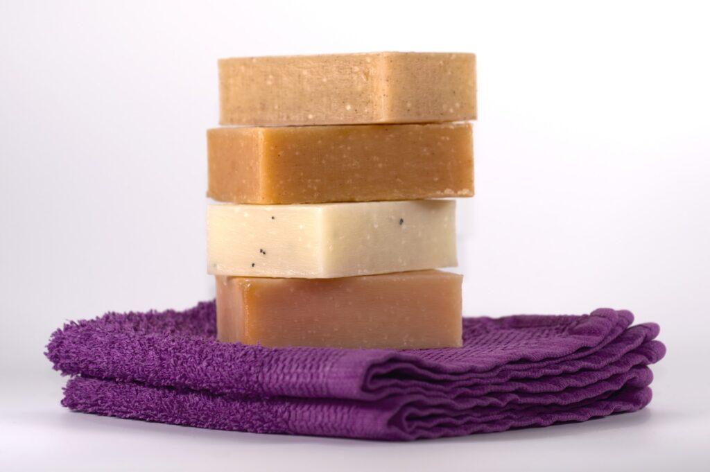 Natural, homemade soap stacked up.