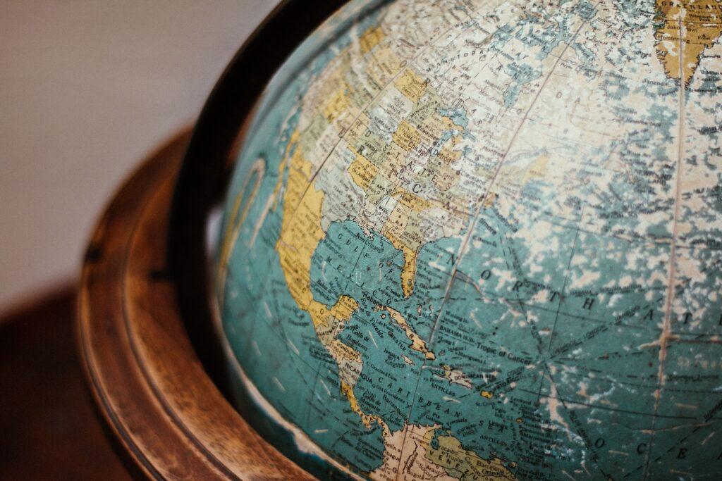 A globe shows North America