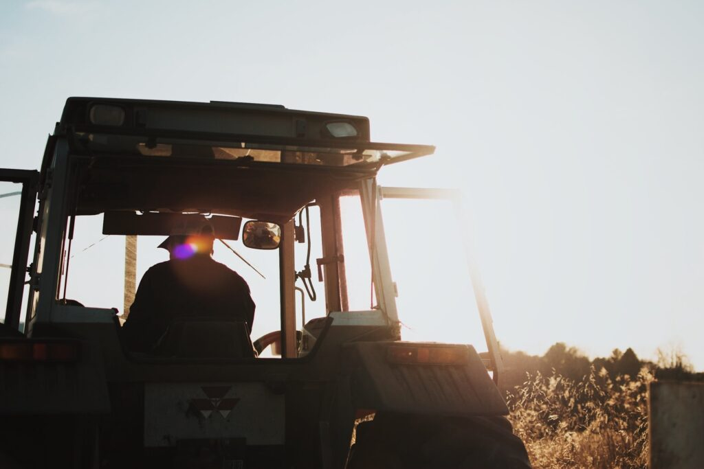 A tractor in a shadow.